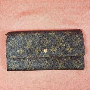 Auth. Louis Vuitton Monogram Sarah Long Wallet